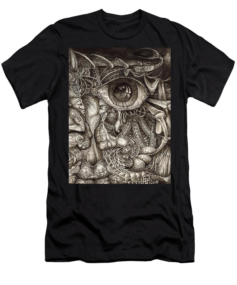 Surreal T-Shirt featuring the drawing Tripping Through Bogomils Mind by Otto Rapp