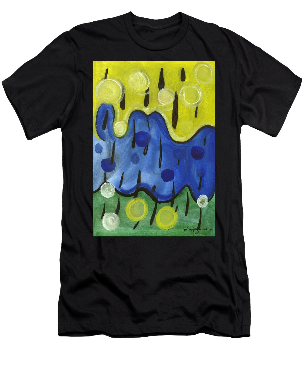 Abstract Art Men's T-Shirt (Athletic Fit) featuring the painting Tropical Rain by Stephen Lucas