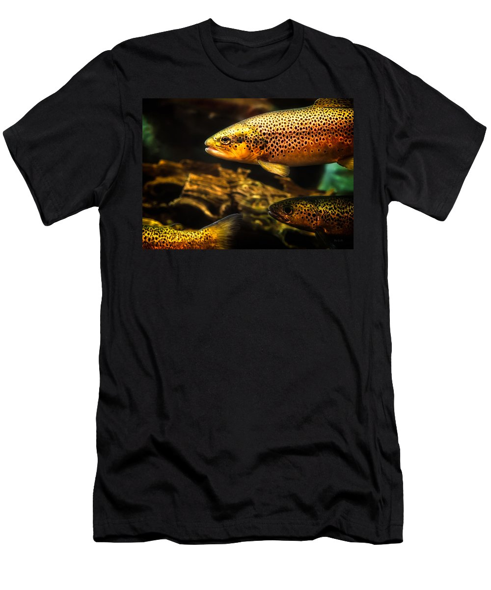 Trout Men's T-Shirt (Athletic Fit) featuring the photograph Trout Swiming In A River by Bob Orsillo