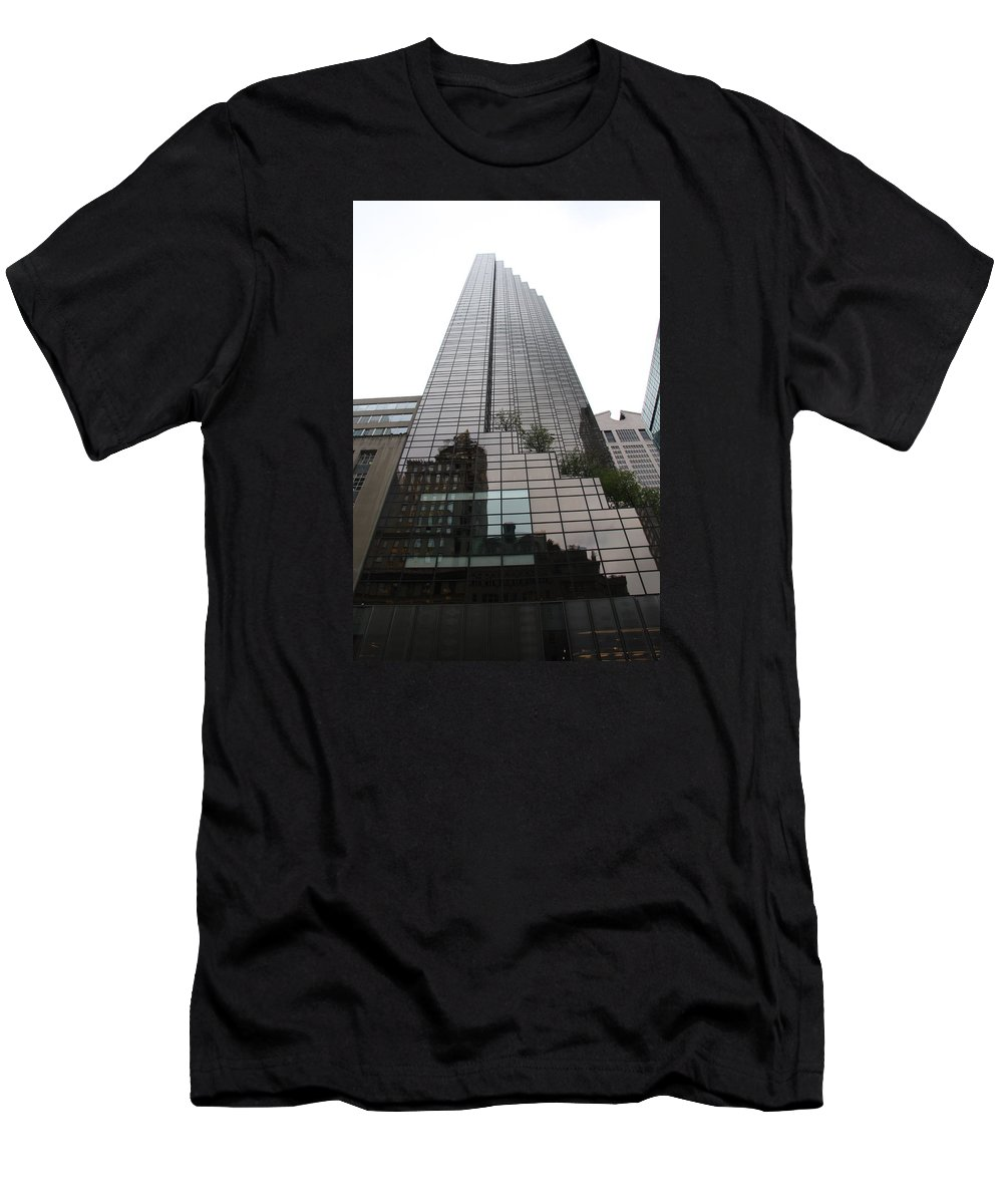 Building Men's T-Shirt (Athletic Fit) featuring the photograph Trump Tower Reflection New York by Christiane Schulze Art And Photography
