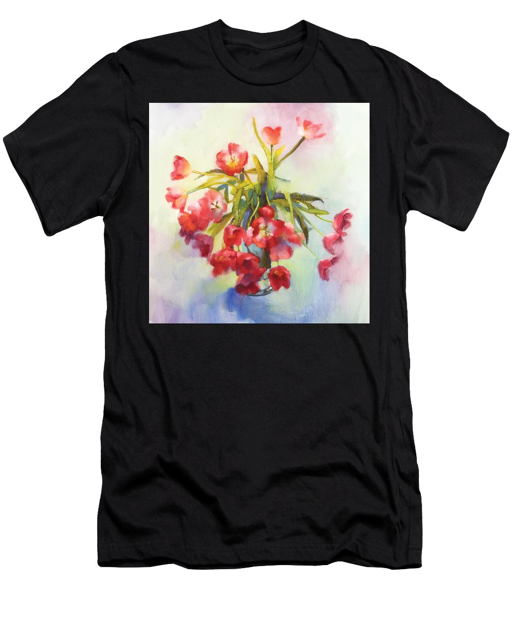 Florals Men's T-Shirt (Athletic Fit) featuring the painting Tulip Fling by Cathy Locke