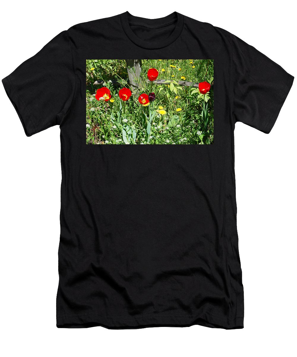 Tulip Men's T-Shirt (Athletic Fit) featuring the photograph Tulip Garden by Aimee L Maher ALM GALLERY
