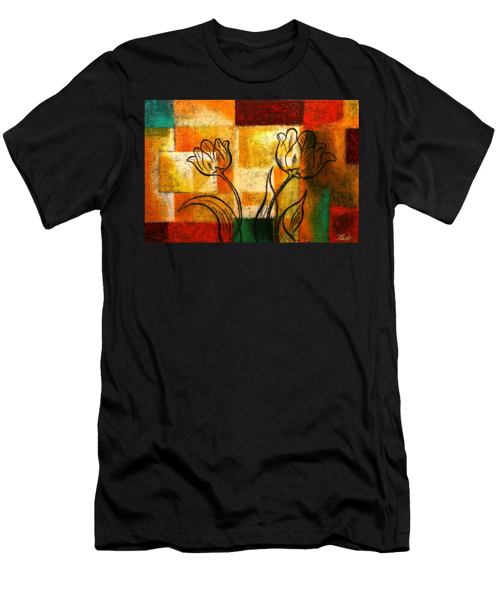 Flowers Paintings Men's T-Shirt (Athletic Fit) featuring the painting Tulip by Leon Zernitsky