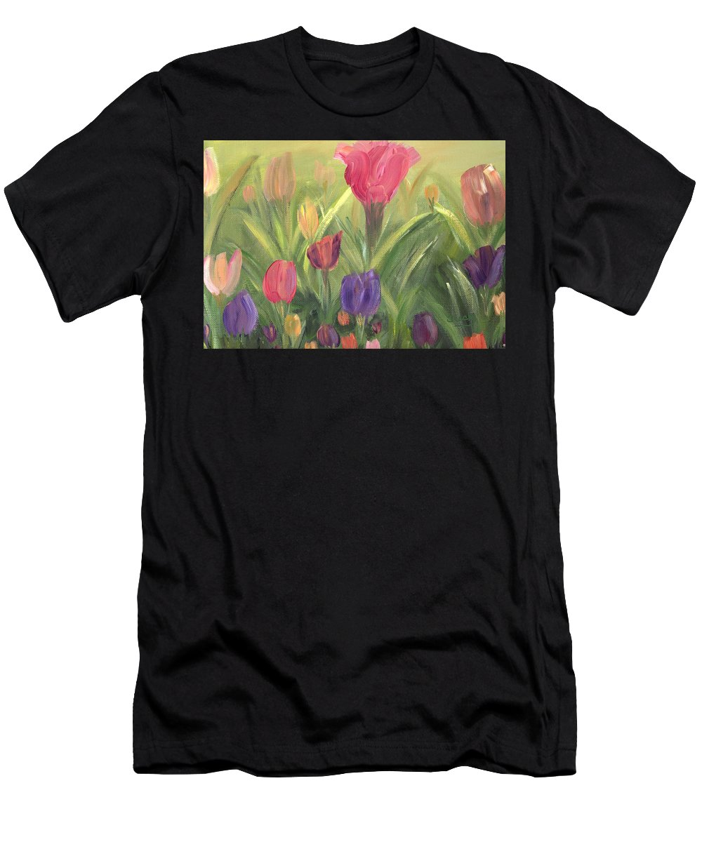 Floral Men's T-Shirt (Athletic Fit) featuring the painting Tulips by Donna Blackhall