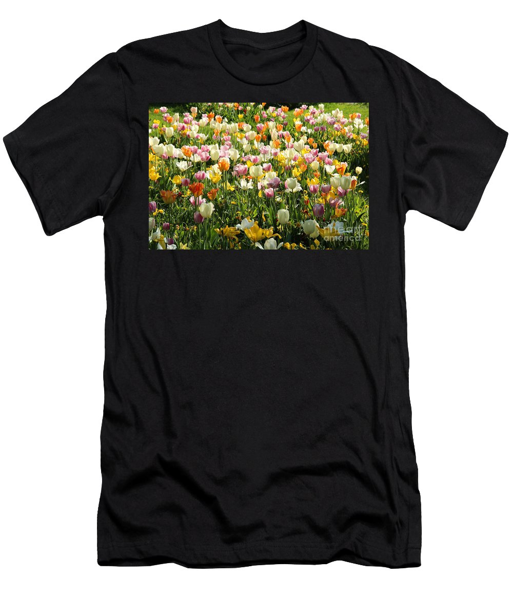 Tulips Men's T-Shirt (Athletic Fit) featuring the photograph Tulips In Spring by Kerstin Ivarsson