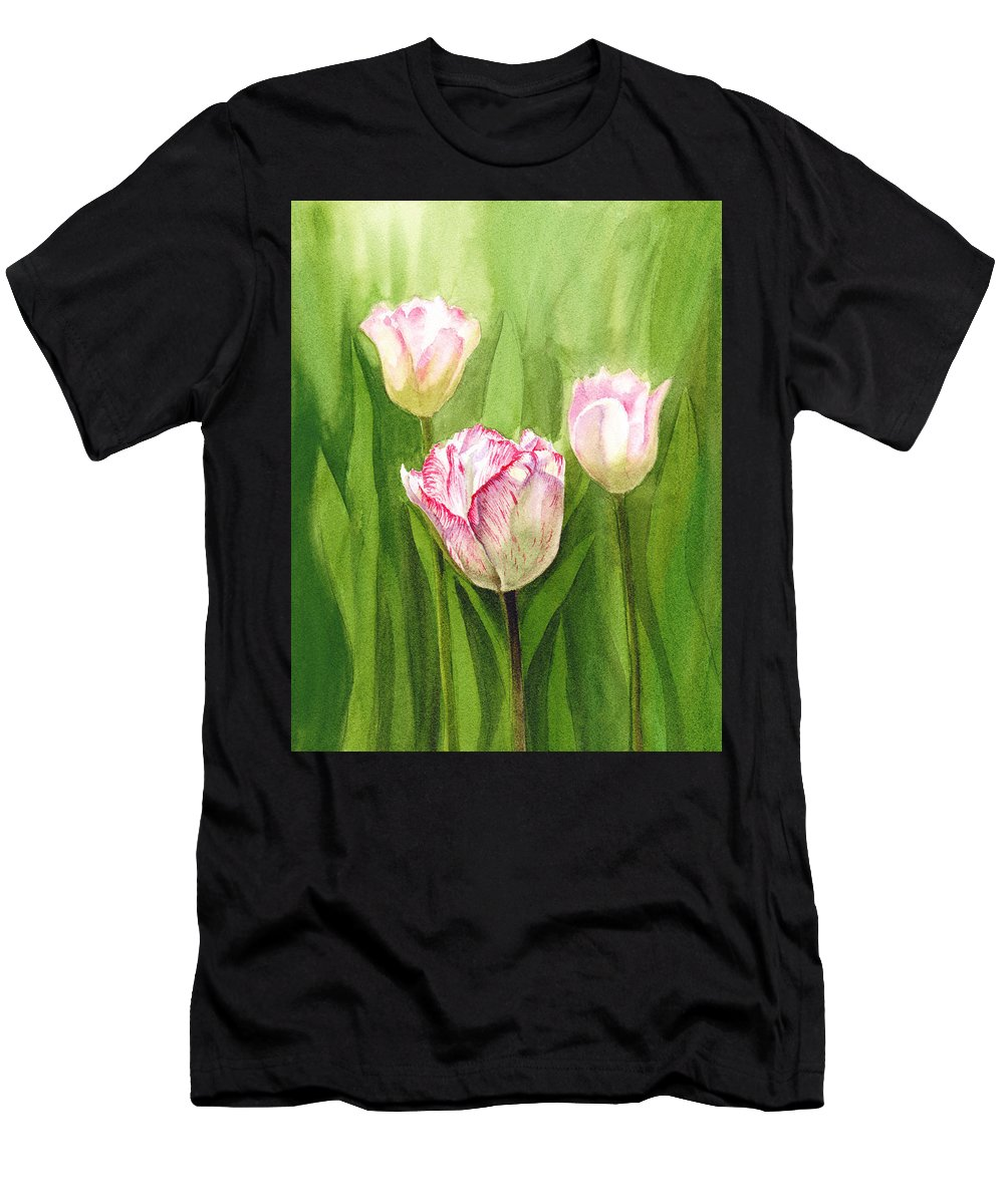 Tulip Men's T-Shirt (Athletic Fit) featuring the painting Tulips In The Fog by Irina Sztukowski