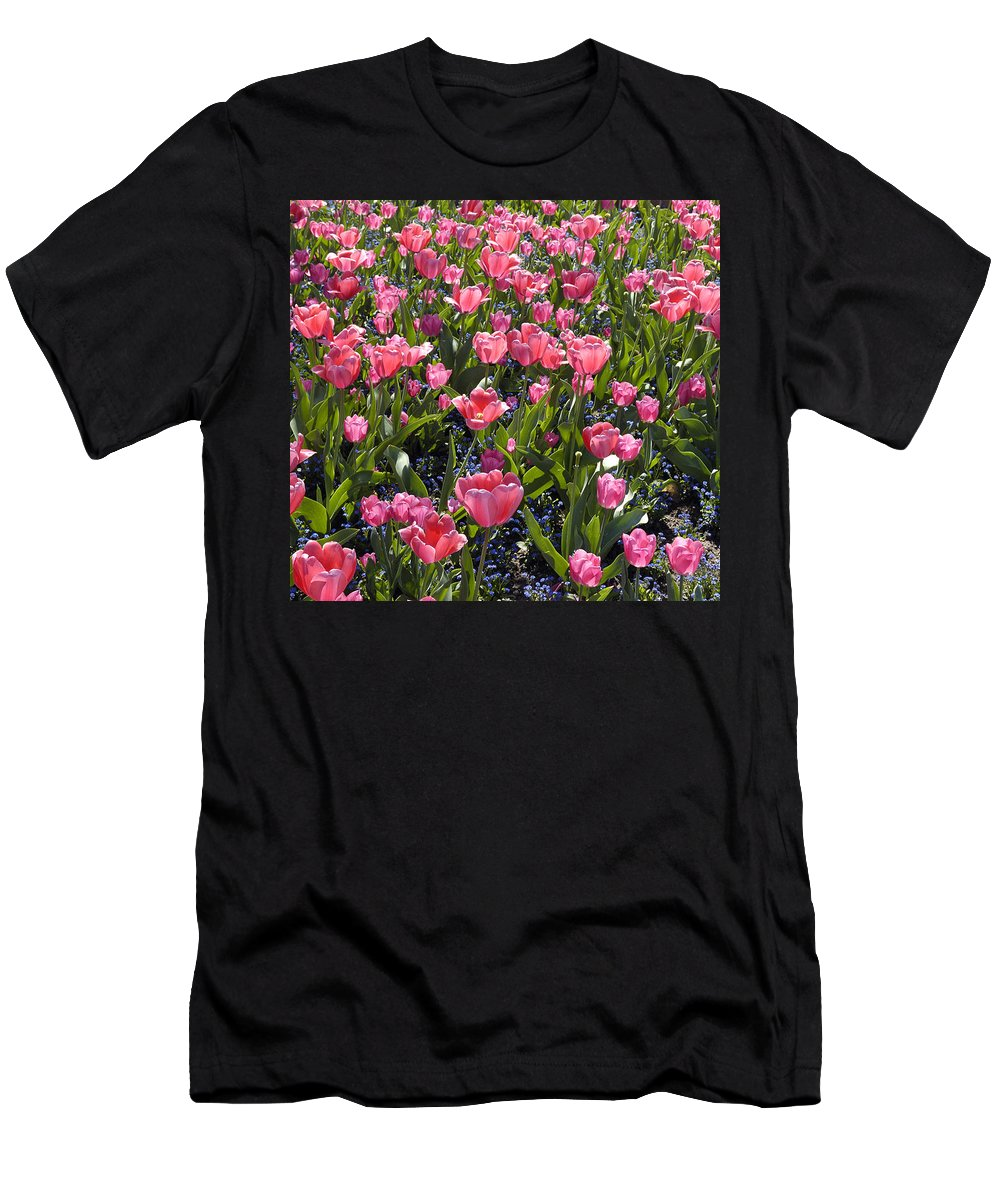 Tulips Men's T-Shirt (Athletic Fit) featuring the photograph Tulips by Matthias Hauser