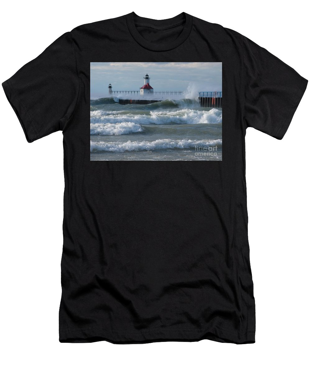 Wind Men's T-Shirt (Athletic Fit) featuring the photograph Tumultuous Lake by Ann Horn