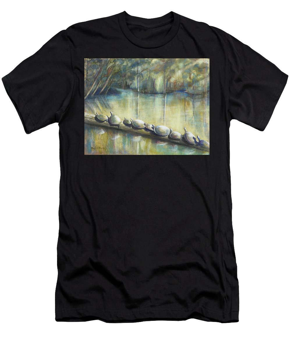 Turtles Men's T-Shirt (Athletic Fit) featuring the painting Turtles On A Log by Phyllis Dunn