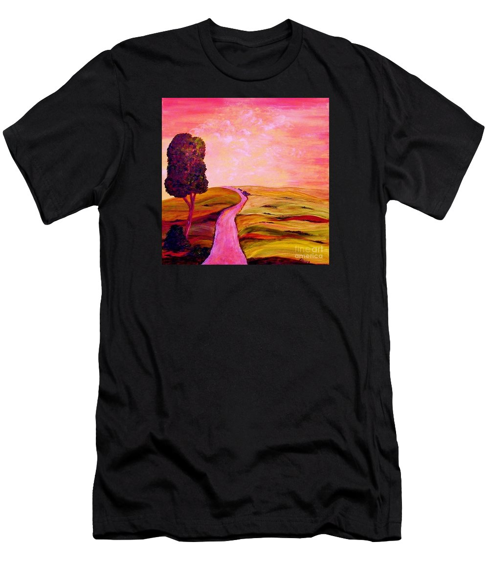 Tuscany Men's T-Shirt (Athletic Fit) featuring the painting Tuscan Skies ... An Impressionist View by Eloise Schneider