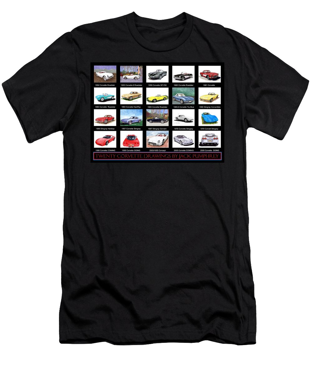 20 Drawings Of The Chevrolet Corvette By Jack Pumphrey Men's T-Shirt (Athletic Fit) featuring the painting Twenty Corvettes by Jack Pumphrey