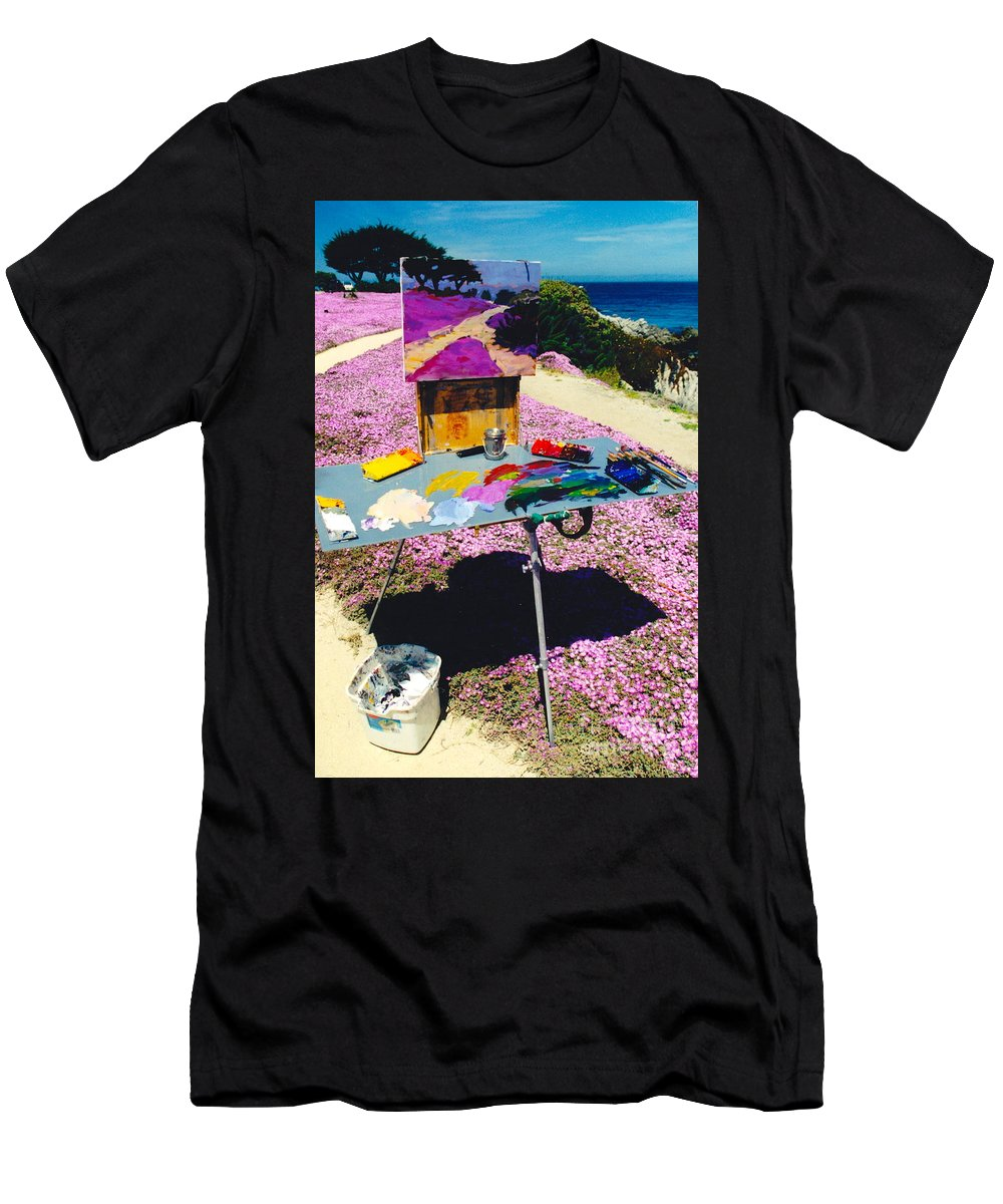 Artist Pallet Men's T-Shirt (Athletic Fit) featuring the photograph Oceanview Pinks by Phyllis Kaltenbach
