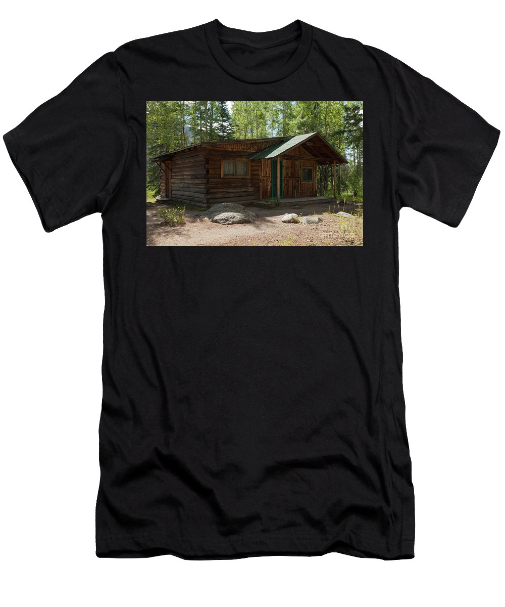 Cabin Men's T-Shirt (Athletic Fit) featuring the photograph Twin No. 2 Cabin At The Holzwarth Historic Site by Fred Stearns