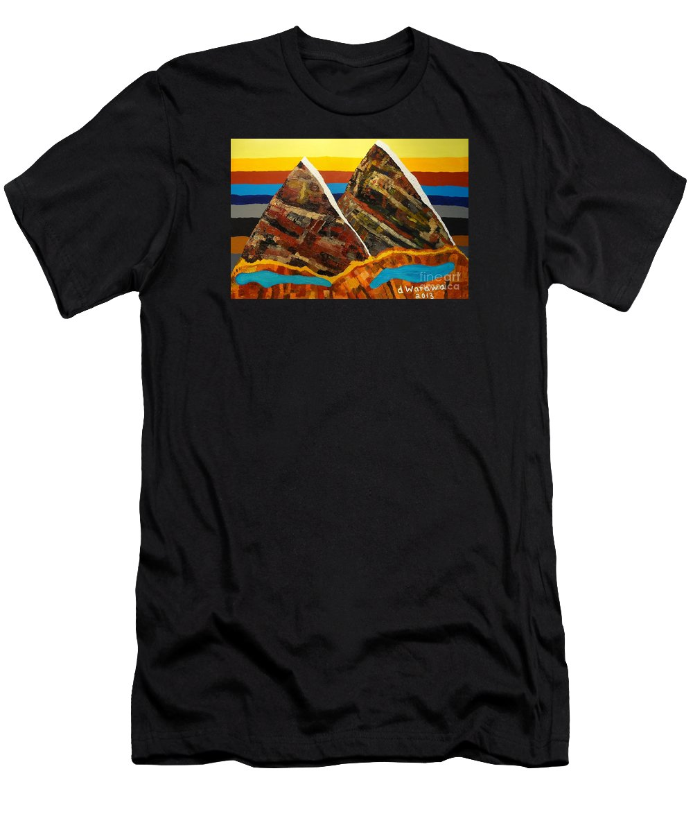 Abstract Men's T-Shirt (Athletic Fit) featuring the painting Twin Peaks by Douglas W Warawa