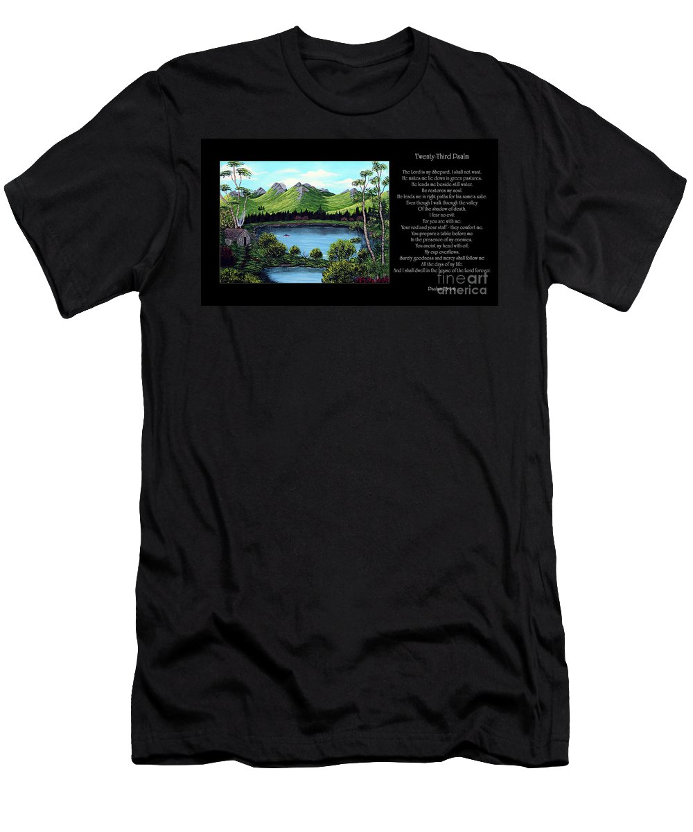 Twenty Third Psalm Men's T-Shirt (Athletic Fit) featuring the painting Twin Ponds And 23 Psalm On Black Horizontal by Barbara Griffin