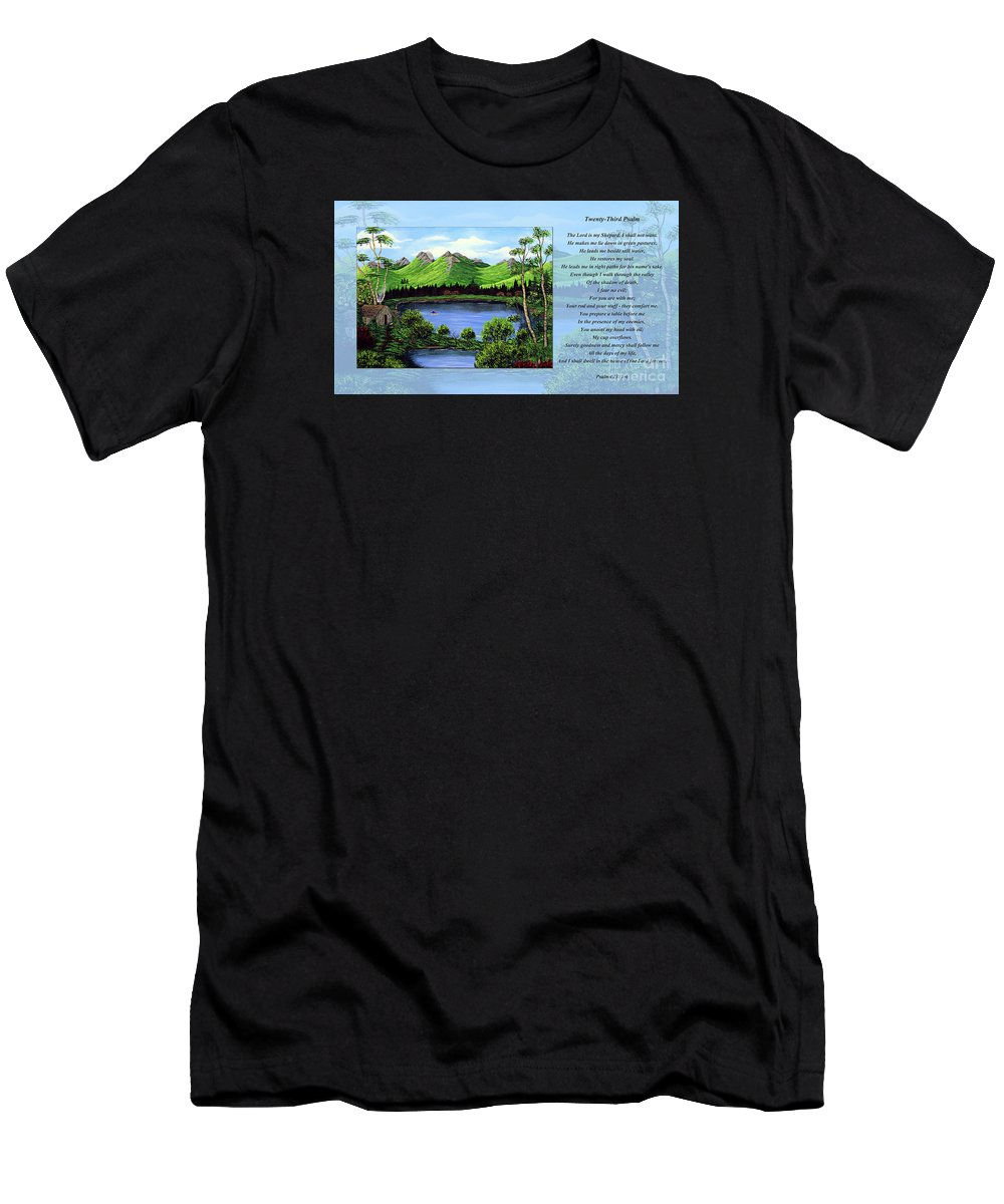 Twenty Third Psalm Men's T-Shirt (Athletic Fit) featuring the painting Twin Ponds And 23 Psalm On Blue Horizontal by Barbara Griffin