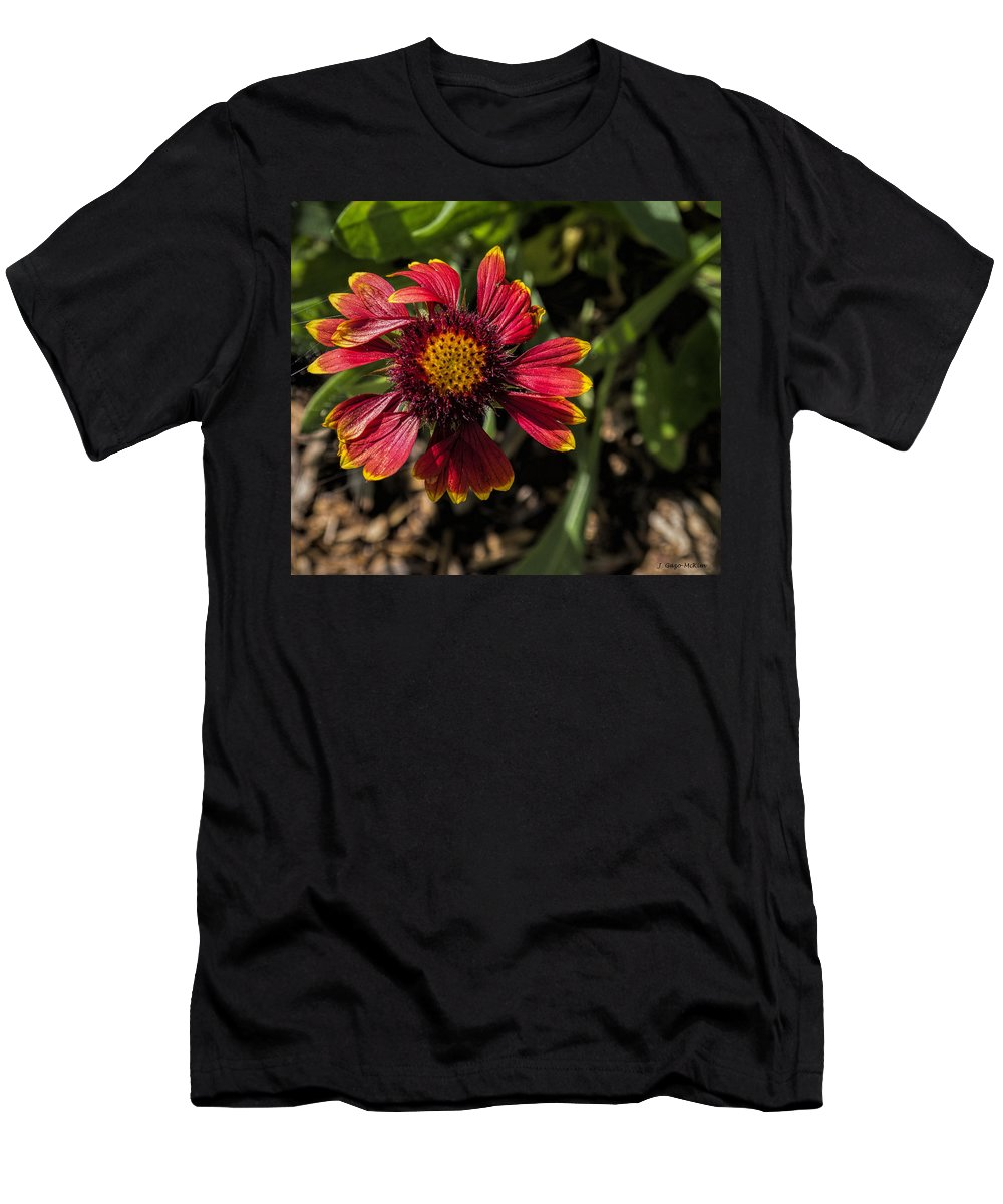 Flower Men's T-Shirt (Athletic Fit) featuring the photograph Twisted Petals by Jo-Anne Gazo-McKim