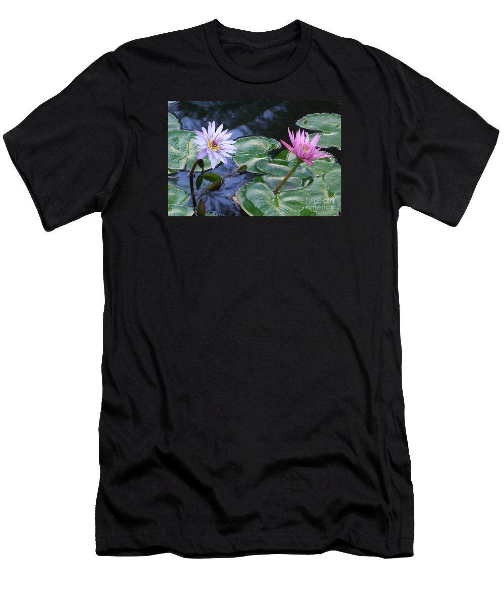 Water Lily Men's T-Shirt (Athletic Fit) featuring the photograph Two Beauties by Mary Deal