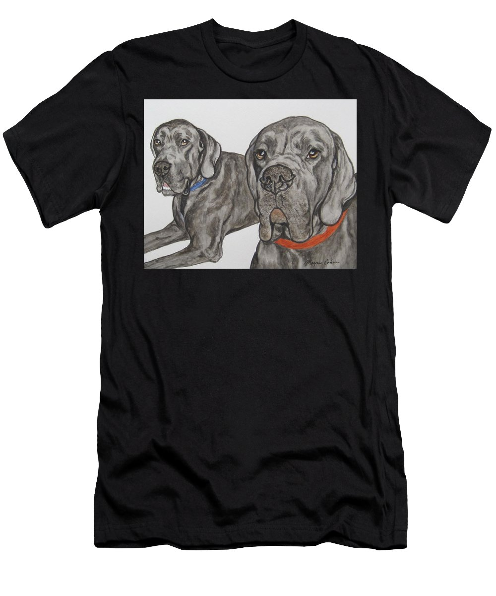 Dog Men's T-Shirt (Athletic Fit) featuring the painting Two Cool Danes by Megan Cohen