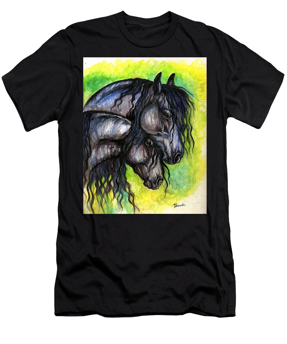 Fresian Horse Men's T-Shirt (Athletic Fit) featuring the painting Two Fresian Horses by Angel Ciesniarska