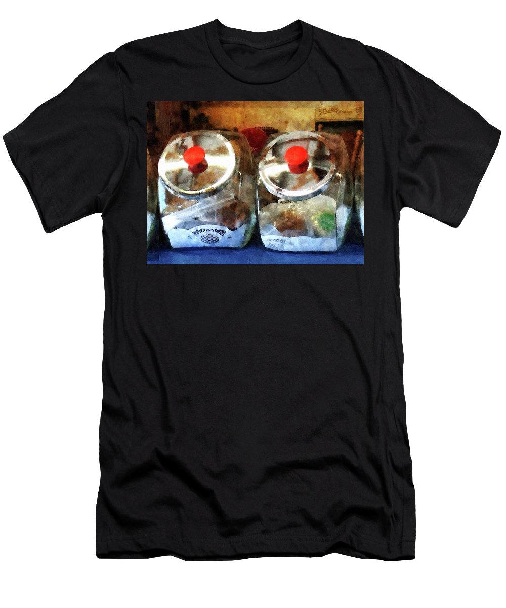 Cookie Jar Men's T-Shirt (Athletic Fit) featuring the photograph Two Glass Cookie Jars by Susan Savad