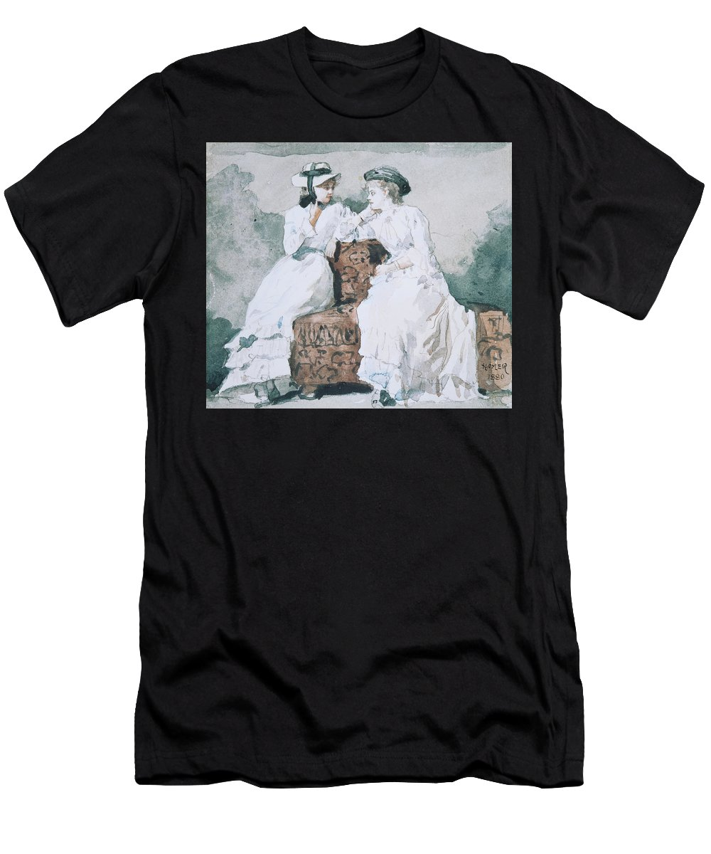 Winslow Homer Men's T-Shirt (Athletic Fit) featuring the drawing Two Ladies by Winslow Homer
