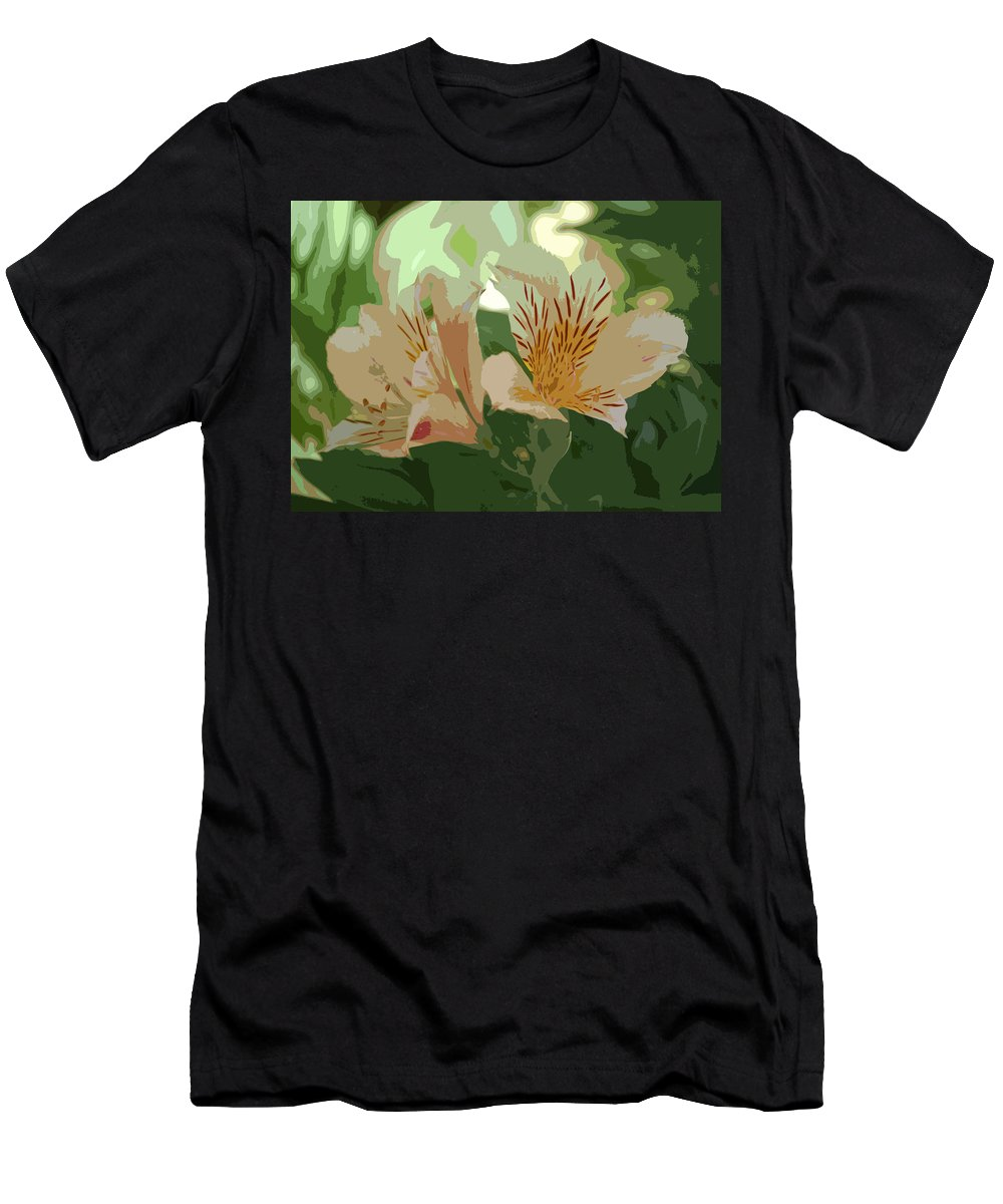 Linda Brody Men's T-Shirt (Athletic Fit) featuring the digital art Two Lilies Cutout by Linda Brody