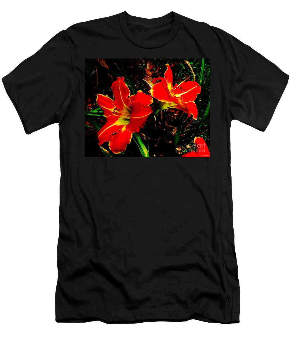 Red Men's T-Shirt (Athletic Fit) featuring the photograph Two Lilies by Lizi Beard-Ward