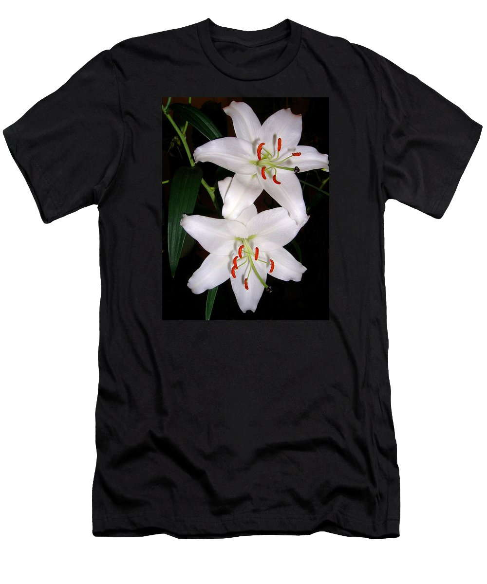 Flower Men's T-Shirt (Athletic Fit) featuring the photograph Two Lilies by Valerie Ornstein