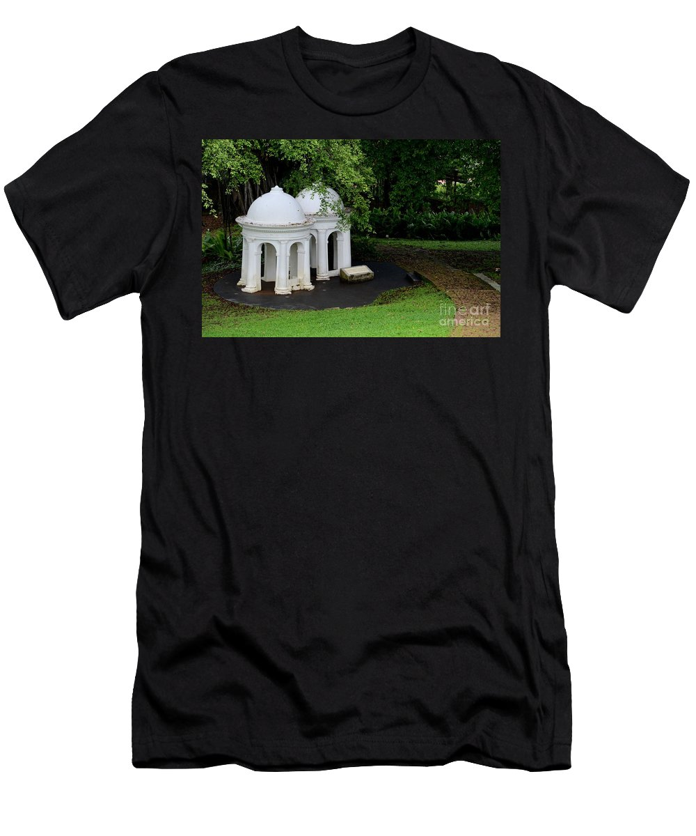 Architecture Men's T-Shirt (Athletic Fit) featuring the photograph Two Meditating Cupolas In Fort Canning Park Singapore by Imran Ahmed