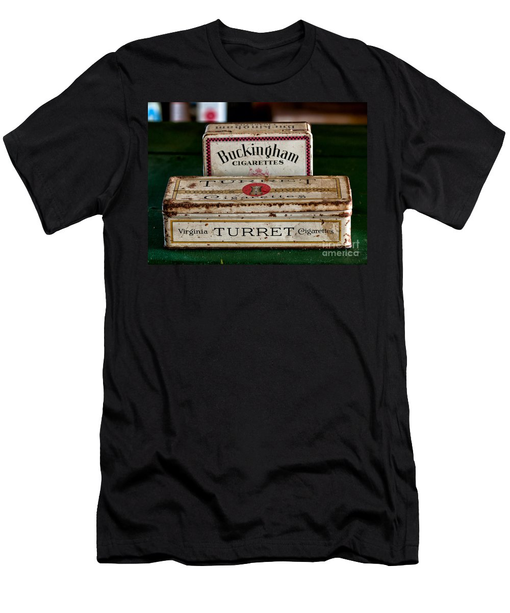 Old Men's T-Shirt (Athletic Fit) featuring the photograph Two Old Cigarette Boxes by Les Palenik