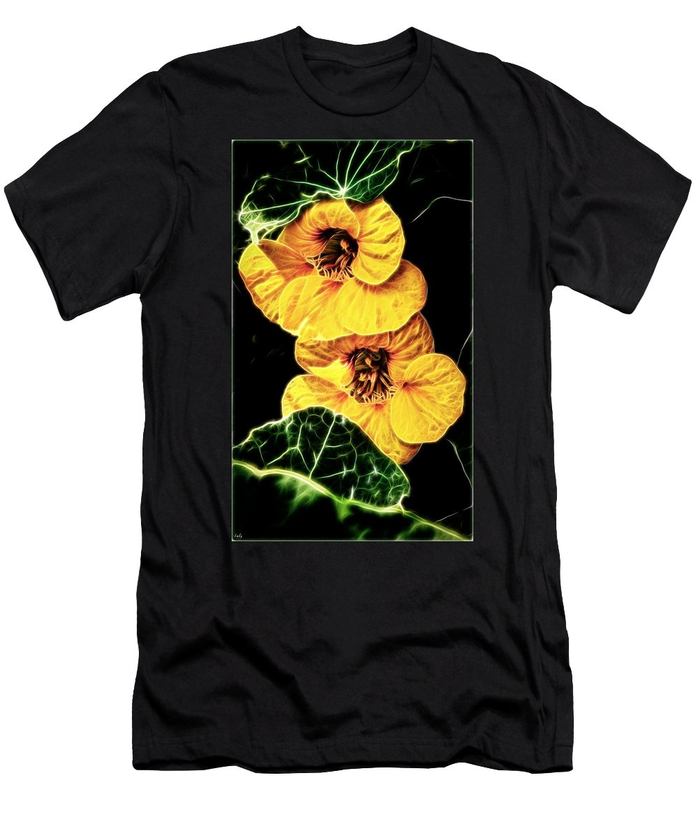 Nasturtium Men's T-Shirt (Athletic Fit) featuring the photograph Two Shy Sisters Fractal by Weston Westmoreland