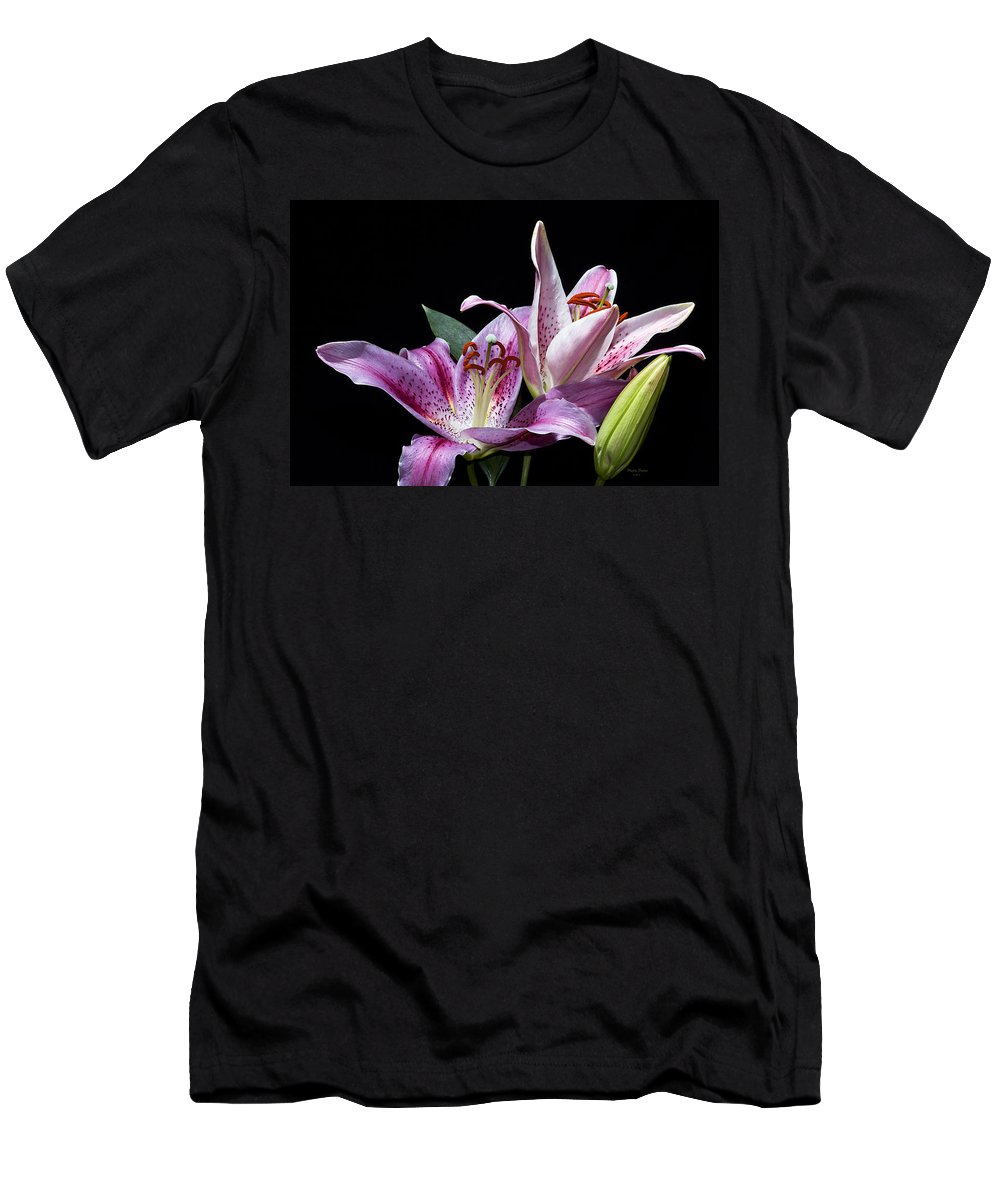 Flower Men's T-Shirt (Athletic Fit) featuring the photograph Two Star Lilies by Phyllis Denton