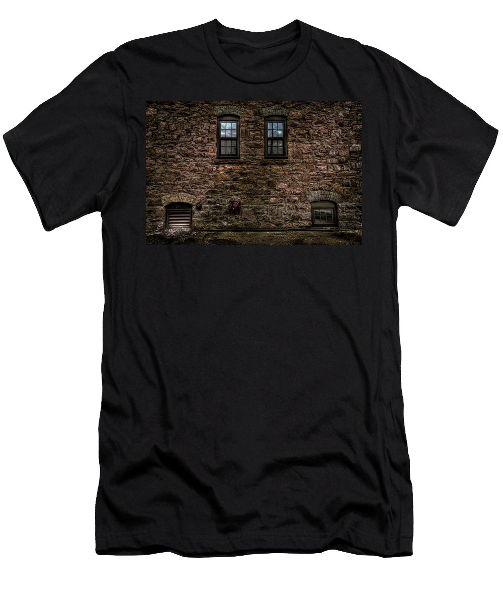 8th And Rr Men's T-Shirt (Athletic Fit) featuring the photograph Two Windows by Mike Oistad