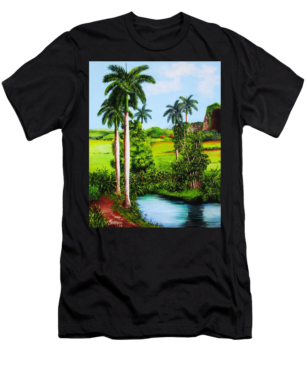 Matanzas Men's T-Shirt (Athletic Fit) featuring the painting Typical Country Cuban Landscape by Dominica Alcantara