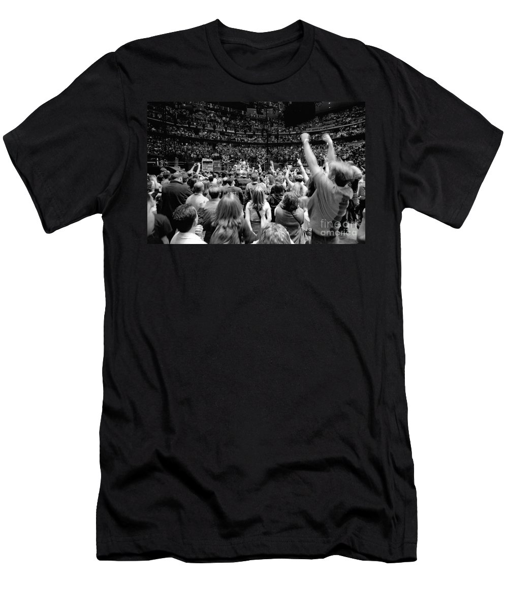 Bono Men's T-Shirt (Athletic Fit) featuring the photograph U2-crowd-gp13 by Timothy Bischoff
