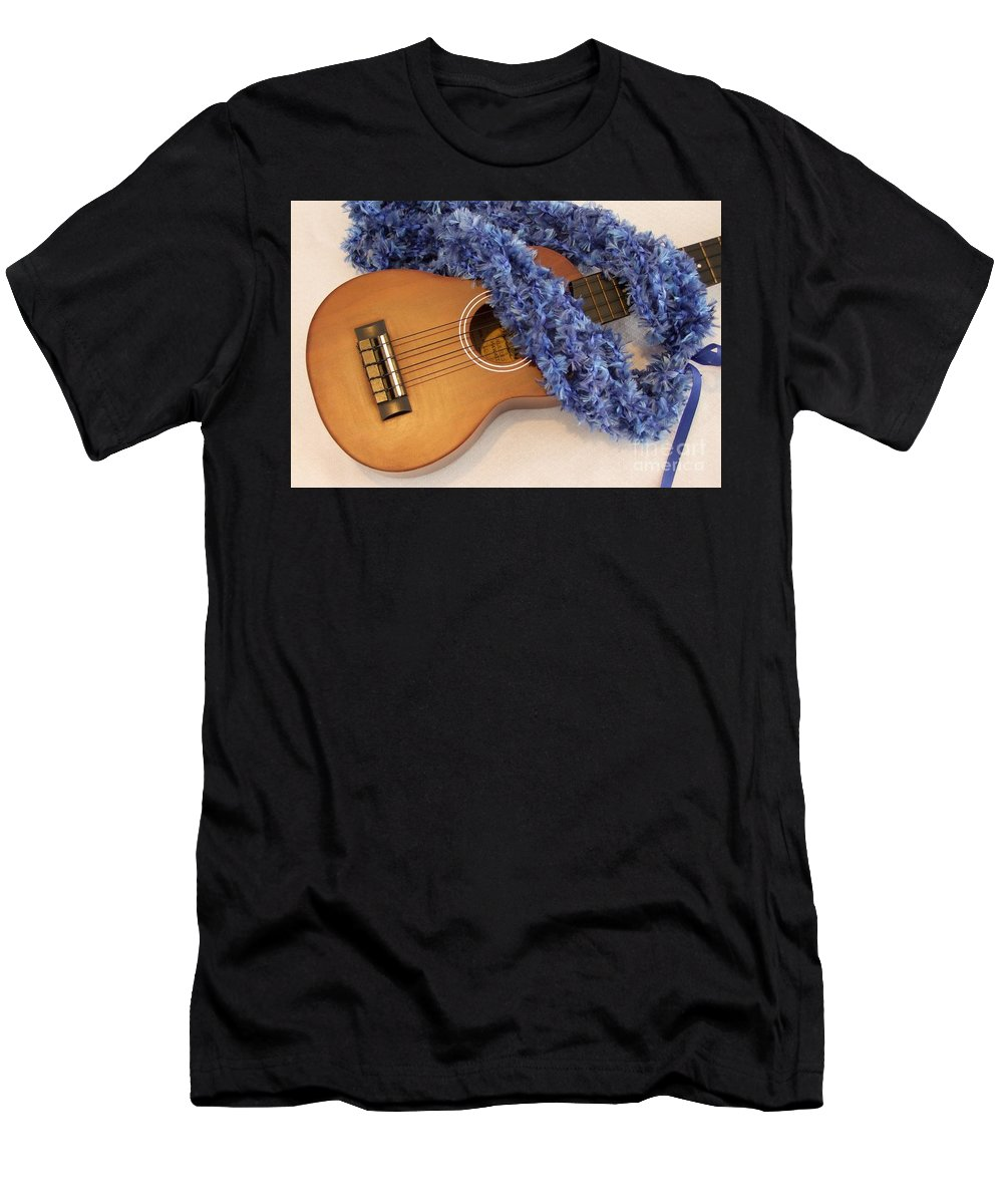 Hawaiian Lei Men's T-Shirt (Athletic Fit) featuring the photograph Ukulele And Blue Ribbon Lei by Mary Deal