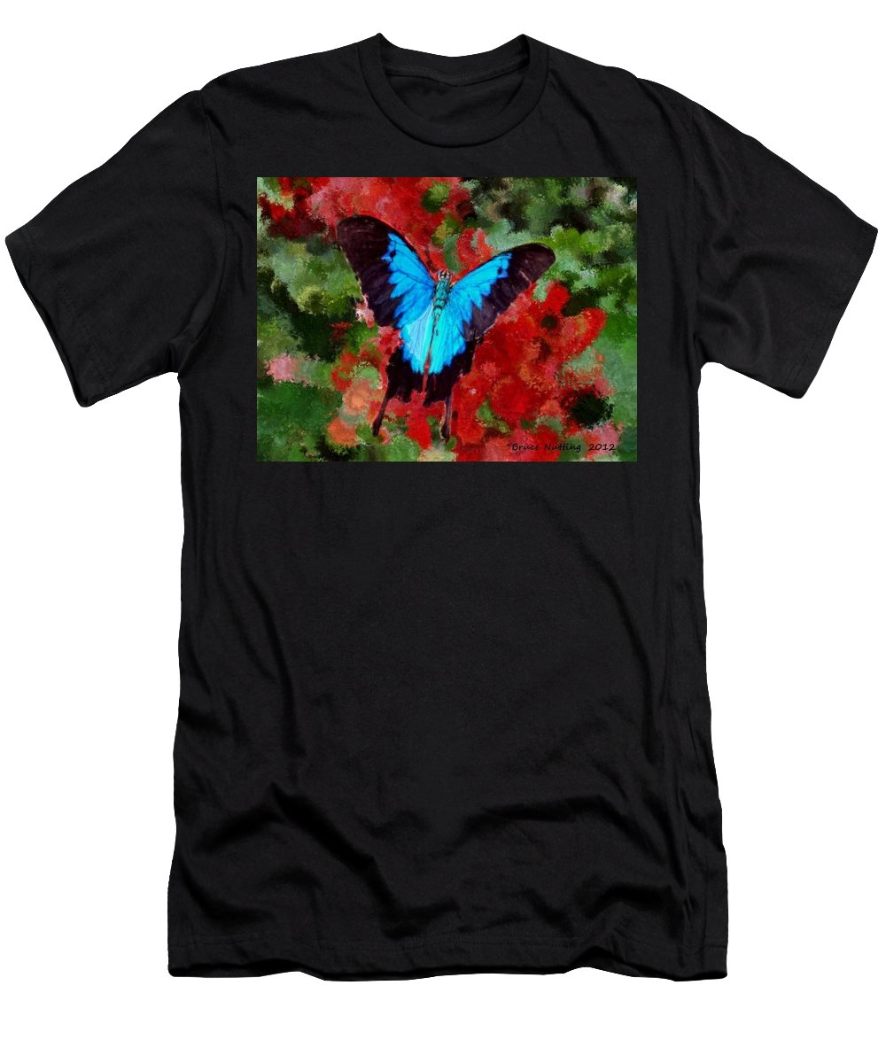 Blue Men's T-Shirt (Athletic Fit) featuring the painting Ulysses Butterfly by Bruce Nutting
