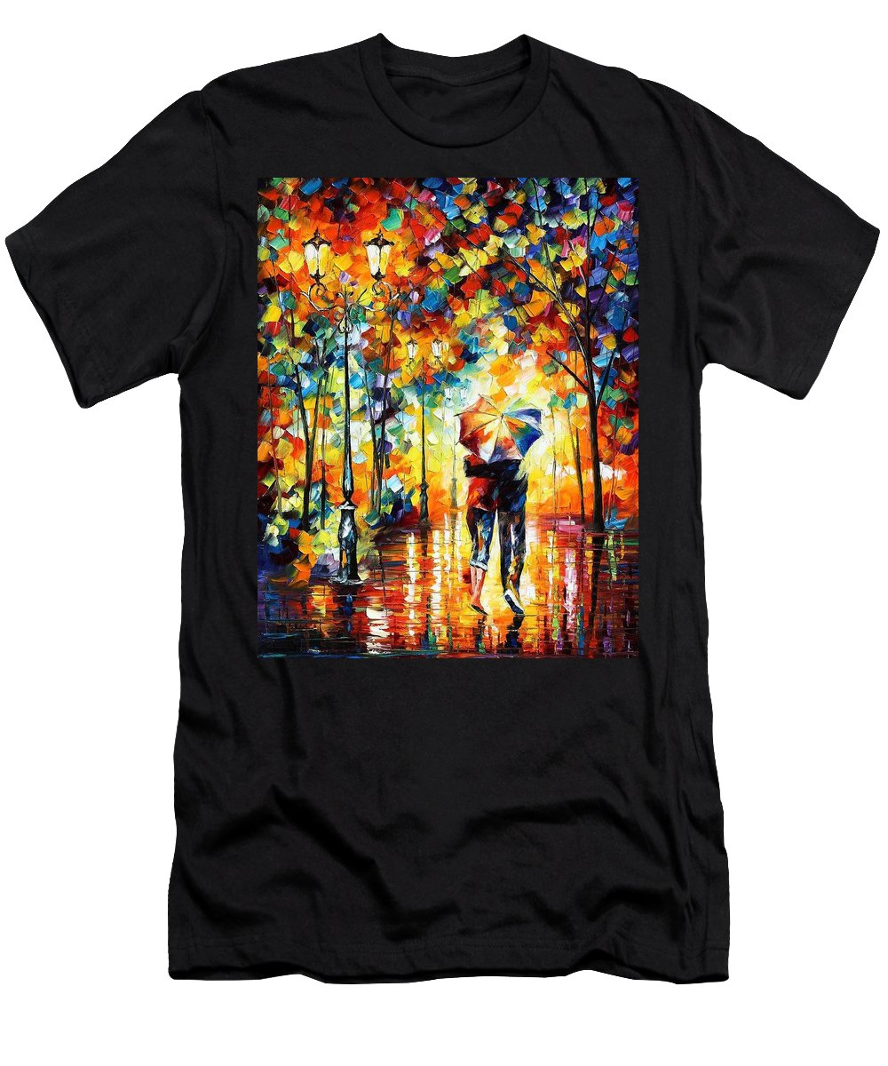 Leonid Afremov Men's T-Shirt (Athletic Fit) featuring the painting Under One Umbrella - Palette Knife Figures Oil Painting On Canvas By Leonid Afremov by Leonid Afremov