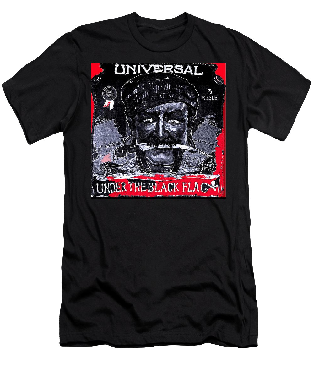 Under The Black Flag Poster 1916 Color Added 2013 Men's T-Shirt (Athletic Fit) featuring the photograph Under The Black Flag Poster 1916 Color Added 2013 by David Lee Guss