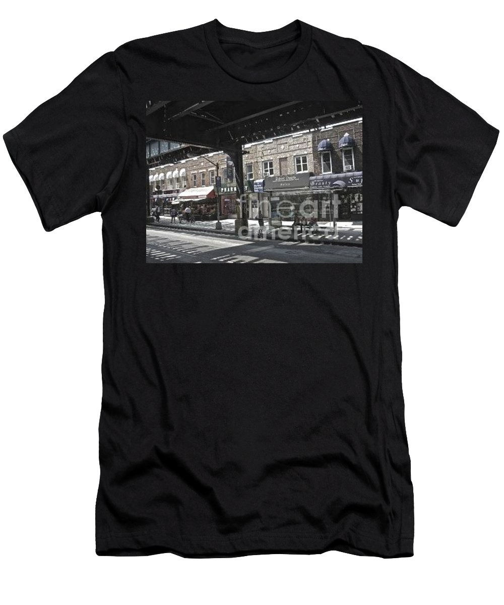 L Men's T-Shirt (Athletic Fit) featuring the photograph Under The L In Brooklyn by Christy Gendalia