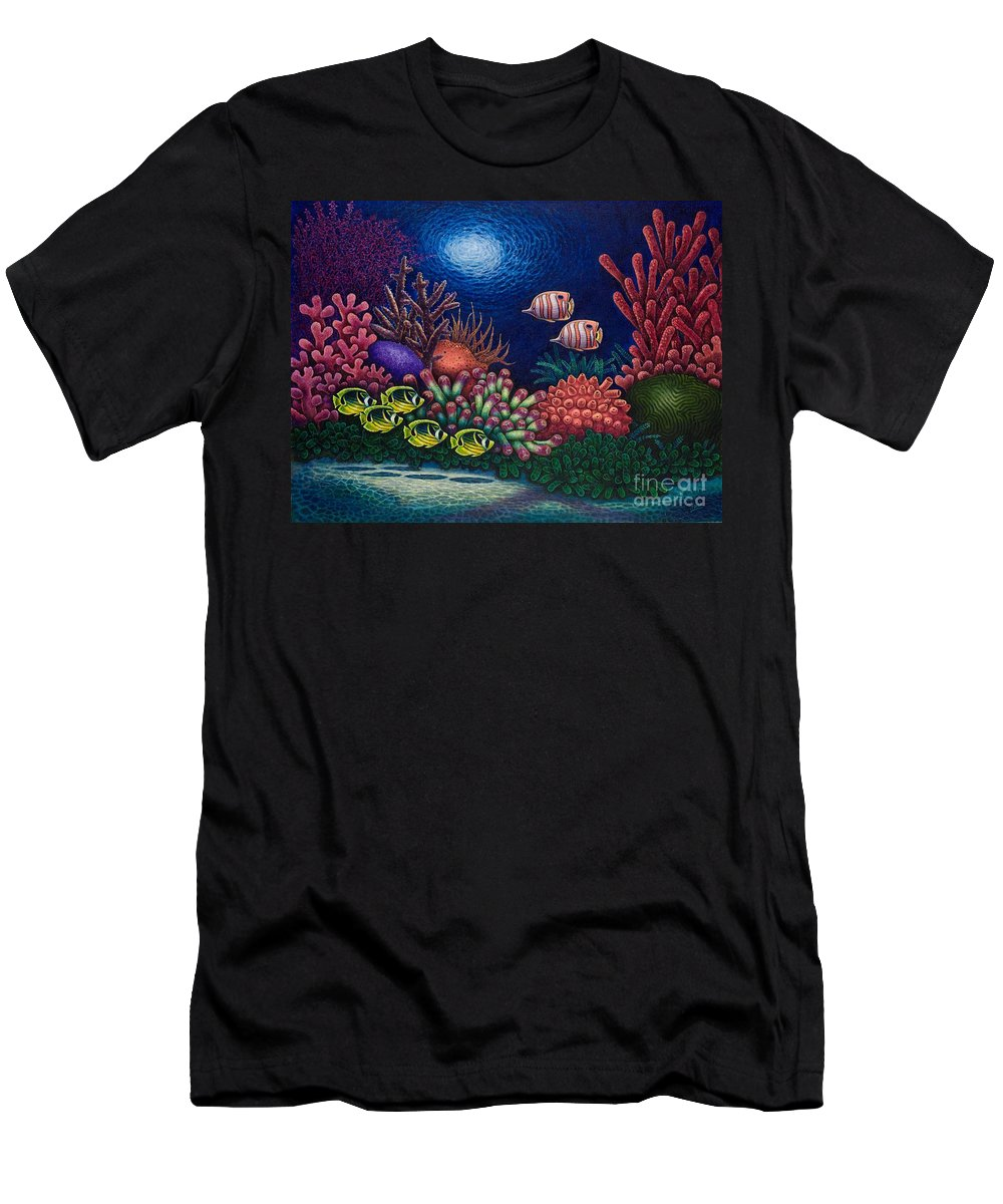 Ocean Men's T-Shirt (Athletic Fit) featuring the painting Undersea Creatures Vi by Michael Frank