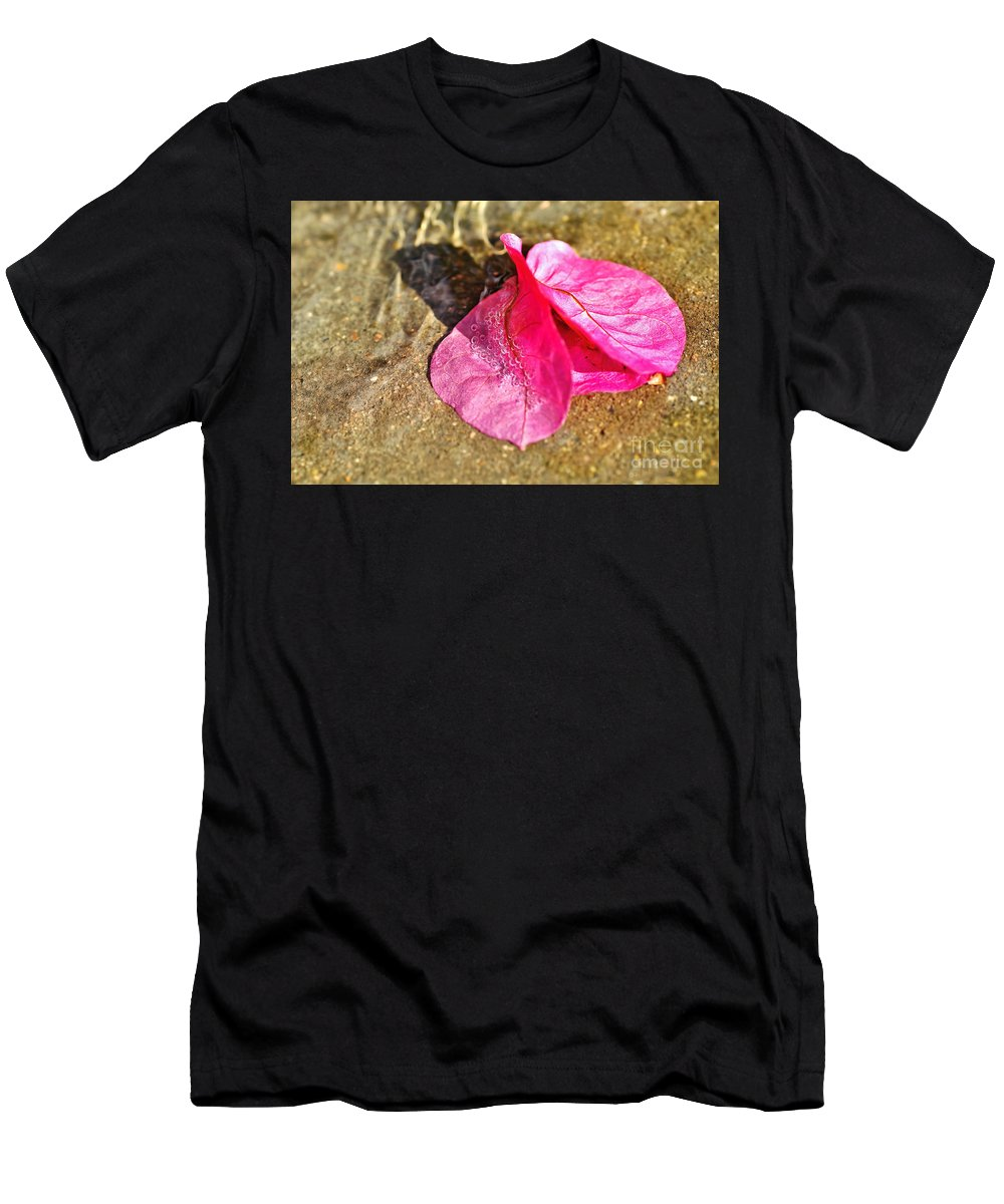 Photography Men's T-Shirt (Athletic Fit) featuring the photograph Underwater Bubbles On Petal by Kaye Menner