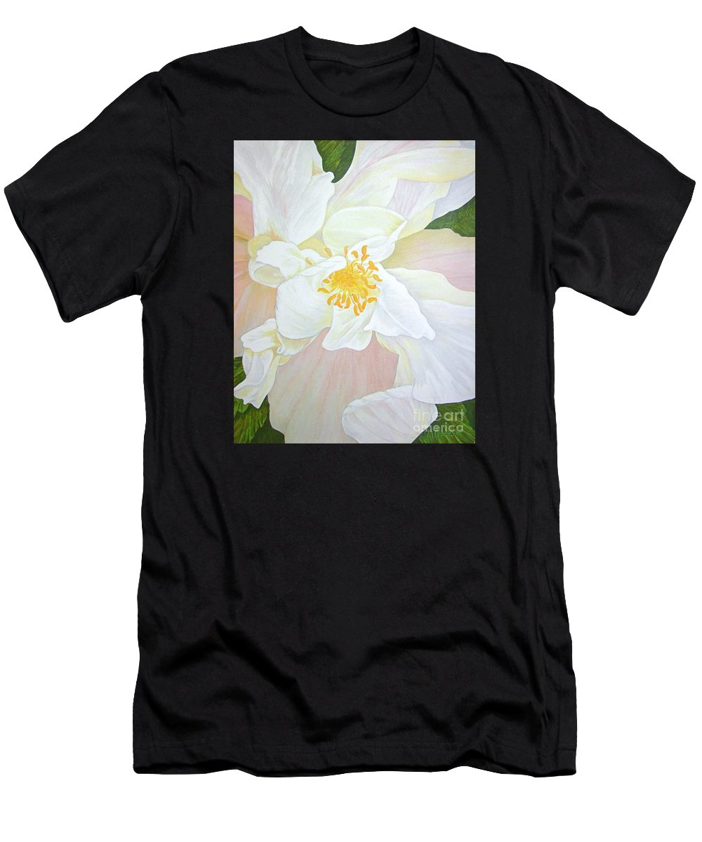 White Men's T-Shirt (Athletic Fit) featuring the painting Unfurling White Hibiscus by Mary Deal