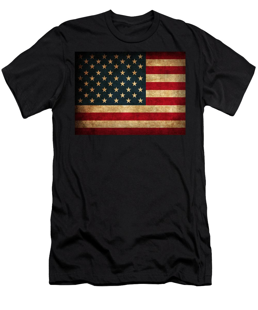 United States American Usa Flag Vintage Distressed Finish On Worn Canvas T-Shirt featuring the mixed media United States American USA Flag Vintage Distressed Finish on Worn Canvas by Design Turnpike