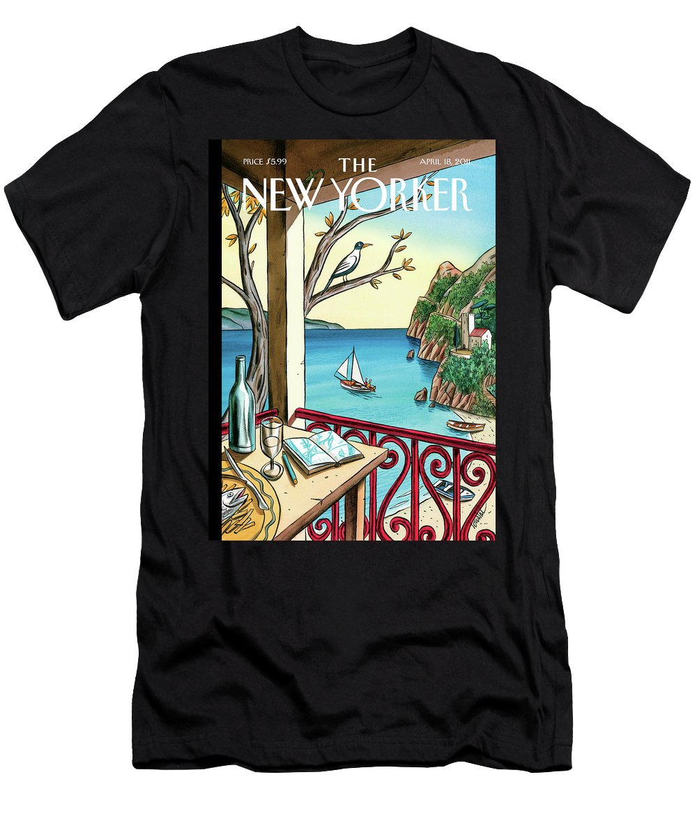 Balcony Men's T-Shirt (Athletic Fit) featuring the painting New Yorker April 18th, 2011 by Jacques de Loustal
