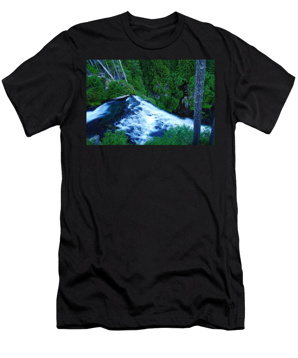 Water Men's T-Shirt (Athletic Fit) featuring the photograph Upper View Of Narada Falls by Jeff Swan