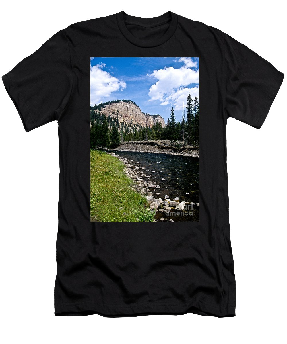 Landscape Men's T-Shirt (Athletic Fit) featuring the photograph Upriver In Washake Wilderness by Kathy McClure