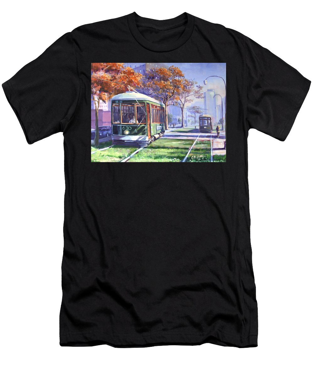 New Orleans Streetcar Men's T-Shirt (Athletic Fit) featuring the painting Streetcars Uptown New Orleans by CB Hume