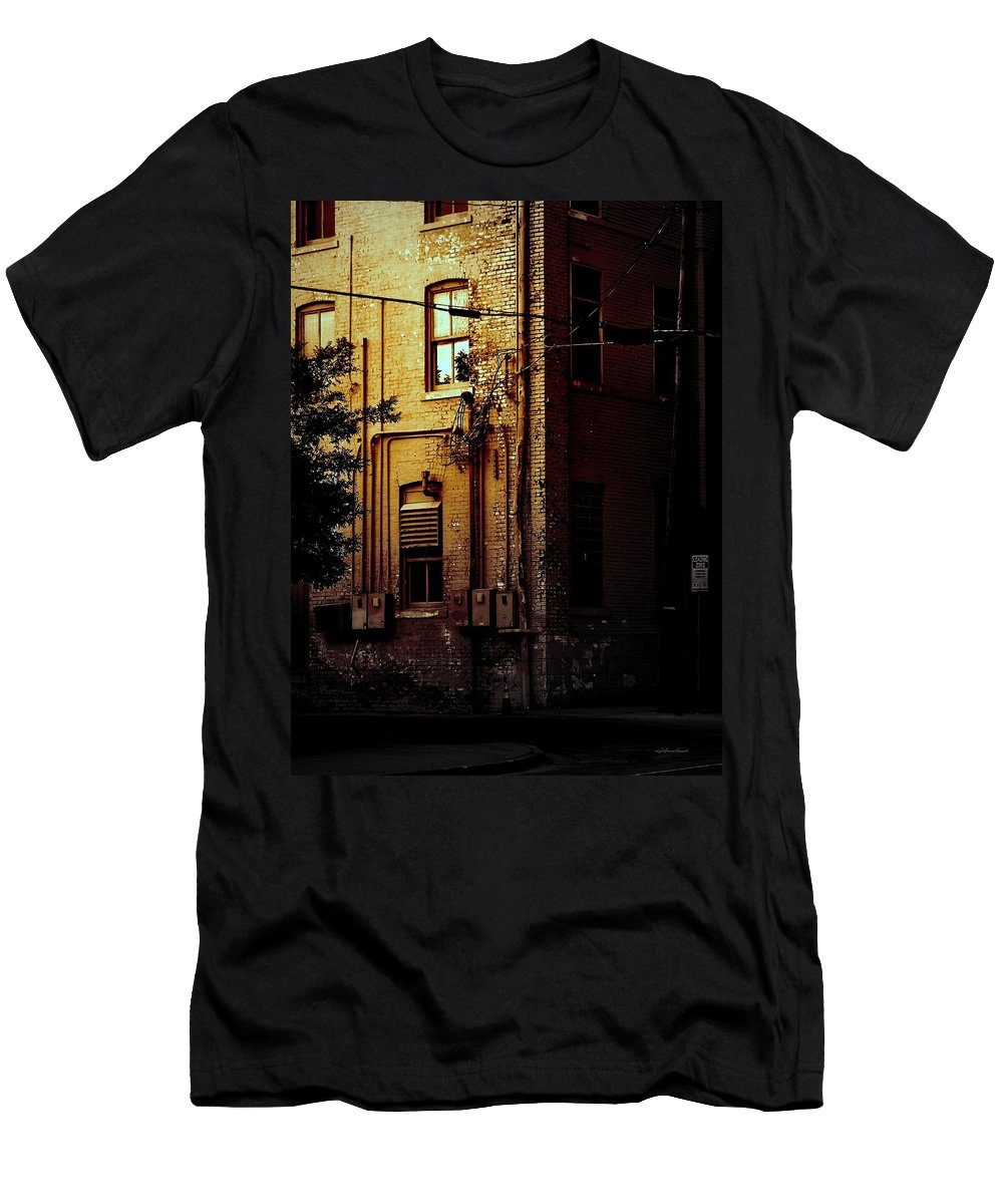 Rightfromtheart Men's T-Shirt (Athletic Fit) featuring the photograph Urban Alley by Bob and Kathy Frank